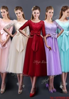 2016 Wonderful See Through Scoop Half Sleeves Bulk Sale Dama Dresses  with Bowknot