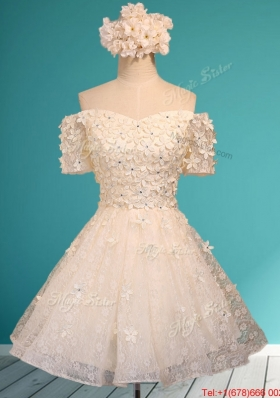 Beautiful White Off the Shoulder Short Sleeves Prom Dresses  with Appliques and Beading