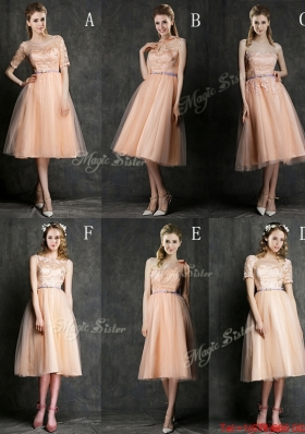 Best Selling Sashed Peach  Bulk Sale Dama Dresses  in Knee Length
