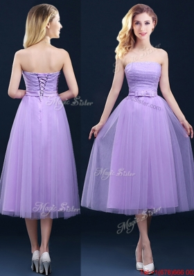 Discount Tea Length Tulle Lavender Prom Dresses  with Belt
