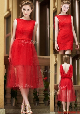 Exclusive Bateau Lace Tea Length Prom Dresses in Red