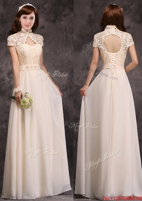 Hot Sale High Neck Champagne Prom Dresses  with Appliques and Lace