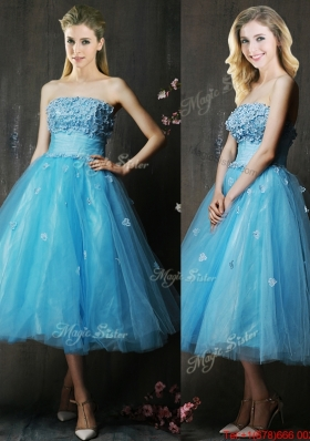 Lovely Strapless Applique Bust Baby Blue Prom Dresses in Tea Length