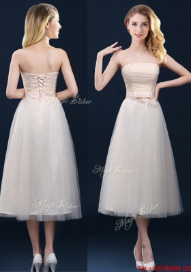Low Price Strapless Belt Champagne Long Prom Dresses  in Tulle