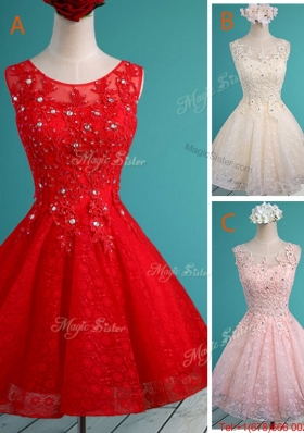 Luxurious See Through Scoop Short Bulk Sale Dama Dresses  with Beading and Appliques
