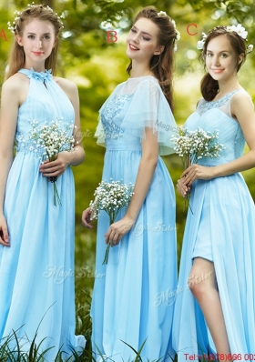 Modest Light Blue Empire Long  Dama Dresses  with Appliques