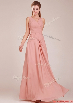 Modest Ruched Decorated Bodice Peach Prom Dresses  with V Neck