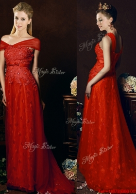 Off The Shoulder Belted and Laced Prom Dresses with Brush Train