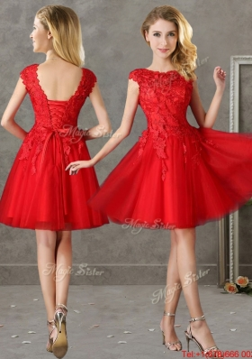 Romantic Bateau Cap Sleeves Short Prom Dresses with Lace