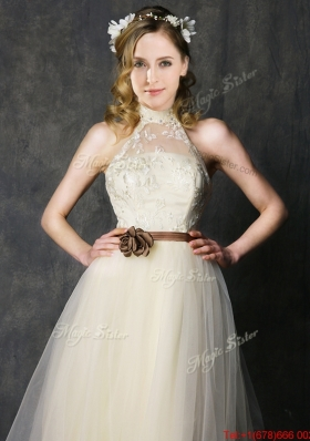Sweet High Neck Champagne Prom Dresses with Hand Made Flowers and Lace