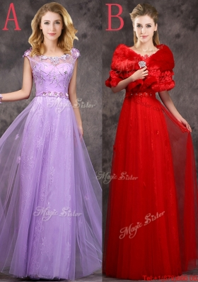 2016 Discount Beaded and Applique Cap Sleeves Long  Dama Dresses in Tulle