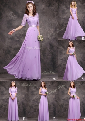 2016 Perfect Applique and Laced Lavender Long Dama Dresses in Chiffon