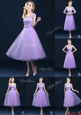Exclusive A Line Tulle Lavender Dama Dresses in Tea Length
