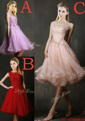 Modern Bateau Beaded and Applique Dama Dresses with Polka Dot
