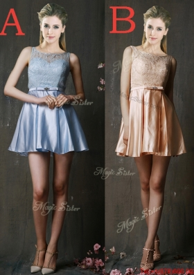 Pretty Bateau Laced and Belted Short Dama Dresses in Taffeta