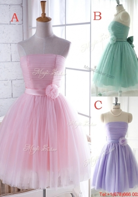 Unique Strapless Tulle Short Dama Dresses  with Handcrafted Flower