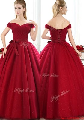 Cheap Off the Shoulder Wine Red Bride Dresses with Bowknot
