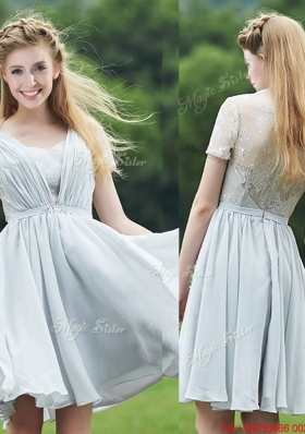Cheap Sweetheart Short Sleeves Mother of Bride Dresses with Belt and Lace