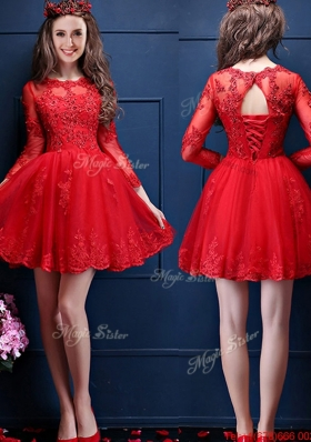 Classical Scoop Three Fourth Length Sleeves Short  Mother of Bride Dresses with Beading and Lace