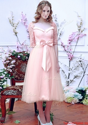 Comfortable Square Half Sleeves Bowknot Mother of Bride Dresses  in Baby Pink