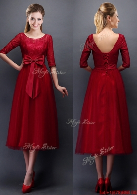 Gorgeous Scoop Half Sleeves Bowknot Mother of Bride Dresses  in Wine Red