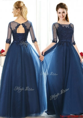 Luxurious See Through Scoop Half Sleeves Mother of Bride Dresses with Lace and Belt