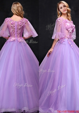 See Through Half Sleeves Bateau Mother of Bride Dresses with Hand Made Flowers