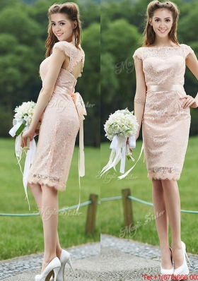See Through Scoop Cap Sleeves Mother of Bride Dresses with Sashes