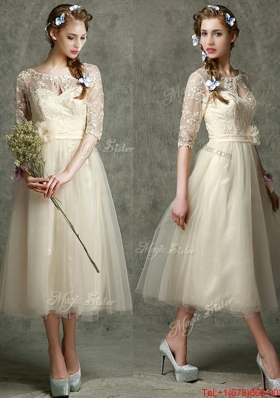See Through Scoop Half Sleeves Mother of Bride Dresses with Hand Made Flowers and Lace
