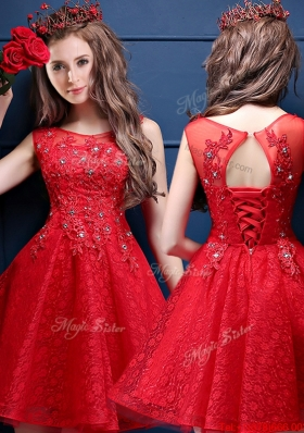 2016  Cheap Scoop Red Mother of Bride Dresses  with Appliques and Beading