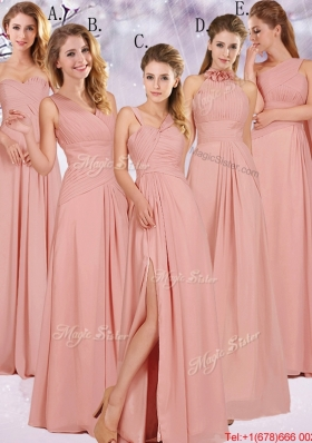 Best Selling Chiffon Peach Long Bridesmaid Dress with Ruching