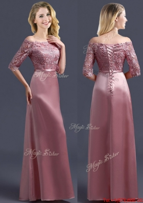 Cheap Off the Shoulder Half Sleeves Mother of Bride Dresses  with Lace and Belt