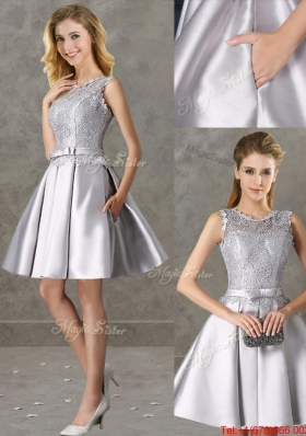 Classical Laced and Bowknot Scoop Mother of Bride Dresses in Silver