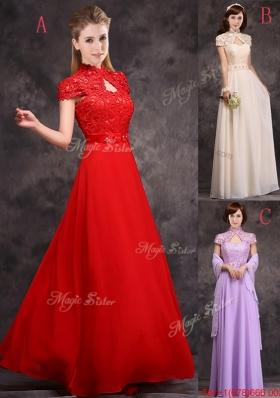 Discount High Neck Applique and Laced Bridesmaid Dress with Cap Sleeves