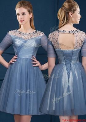 Exclusive Scoop Short Sleeves Beading Mother of Bride Dresses in Navy Blue