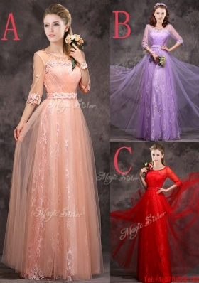 Exclusive See Through Scoop Applique and Laced Bridesmaid Dress with Half Sleeves