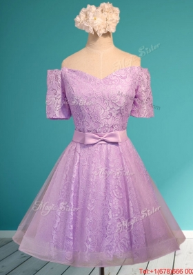 Fashionable Off the Shoulder Short Mother of Bride Dresses with Bowknot