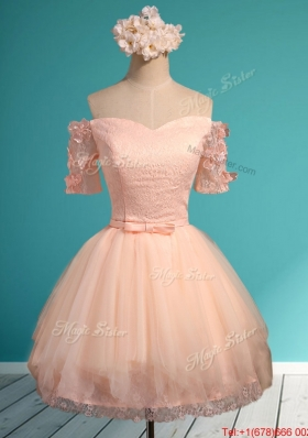 Luxurious Off the Shoulder Short Mother of Bride Dresses with Appliques and Belt