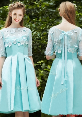 See Through Bateau Half Sleeves Appliques Mother of Bride Dresses  in Apple Green