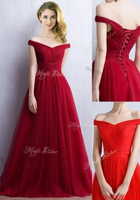 Elegant Off the Shoulder Cap Sleeves  Prom Dresses in Wine Red
