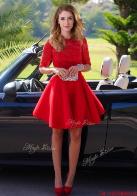Exquisite Laced Scoop Half Sleeves Prom Dresses  in Red