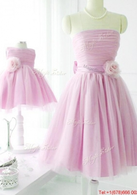 New Arrivals Strapless Baby Pink Prom Dresses  with Handcrafted Flower