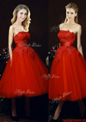 Perfect Puffy Skirt Strapless Applique Tea Length Red Prom Dresses