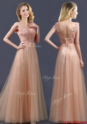 Top Selling V Neck Long  Prom Dresses with Appliques and Beading