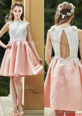 Lovely Bateau Open Back Applique Short  Prom Dresses  in Pink