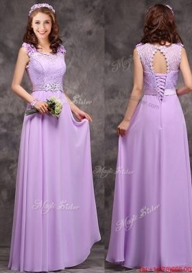 Lovely  Empire Scoop Laced Decorated Bodice Prom Dresses  in Lavender