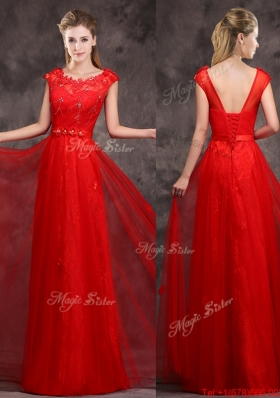 Lovely Hot Sale Scoop Red Prom Dresses  with Beading and Appliques