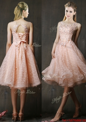 Lovely See Through Beaded and Applique Peach Prom Dresses  with Polka Dot