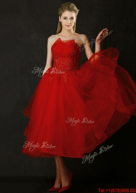Lovely Tea Length Applique Red Prom Dresses with Asymmetrical Neckline