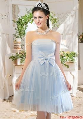 Elegant A Line Strapless Bowknot Short Bridesmaid Dress in Light Blue
